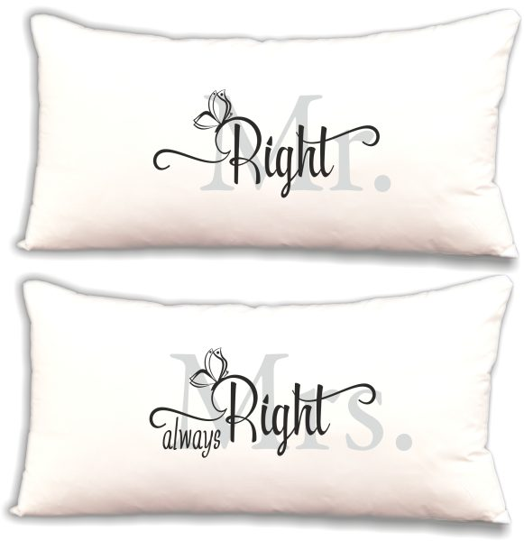 "Dekokissen Kissen Set ""Mr. Right & Mrs. always Right"""