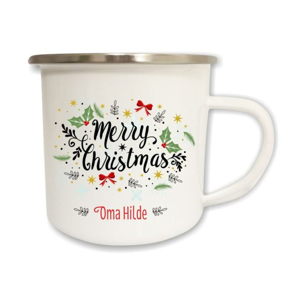 Emailletasse Merry Christmas mit Name