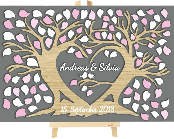 3D Baum aus Holz zur Hochzeit personalisiert Liebesbaum