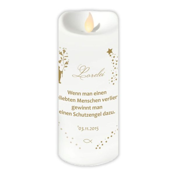 LED Kerzen Twinkle Trauerkerze Goldener Engel