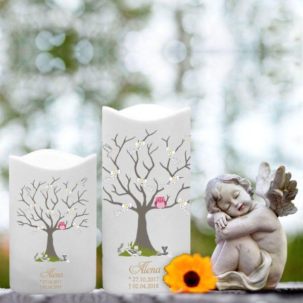 LED Kunststoff Kerze Weiß für Sternenkind Baum mit Schleifen und rosa Eule