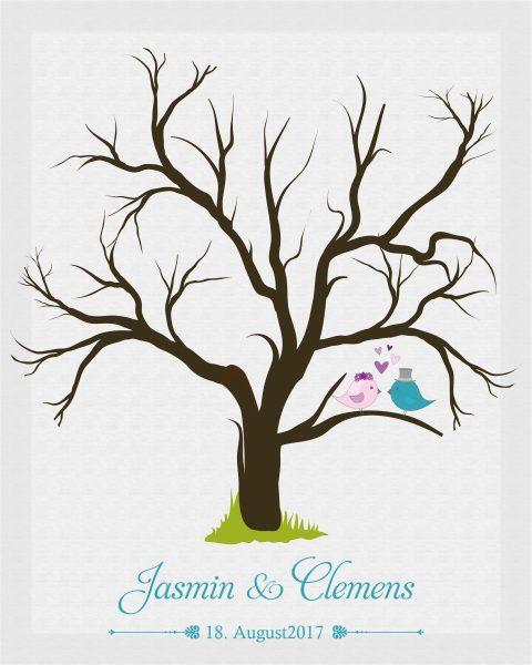 Hochzeitsleinwand Leinwand Fingerabdruckbaum Wedding Tree Gästebuch Vögel