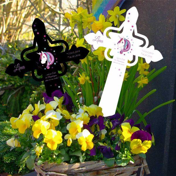 Grabkreuz mit Stern für Sternenkind Einhorn Beauty