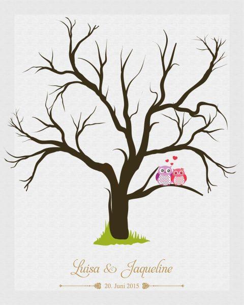 Hochzeitsleinwand Leinwand Fingerabdruckbaum Wedding Tree Gästebuch Frauenhochzeit Eulen