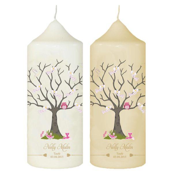 Taufkerze mit Name und Datum Baum mit Eule in rosa