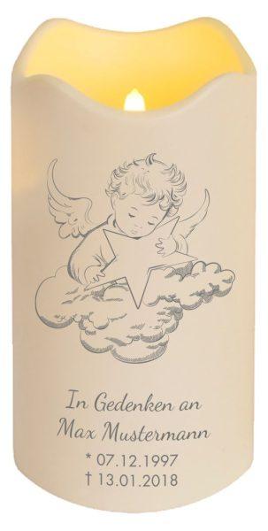 LED Kerze Trauerkerze aus Kunststoff Engel auf Wolke