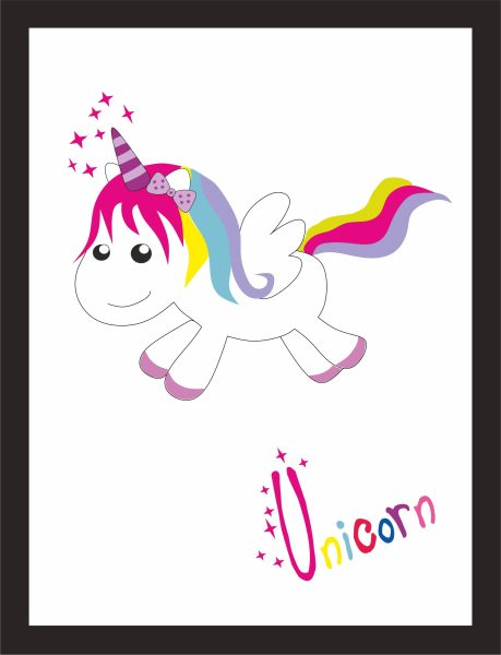 Kunstdruck Unicorn happy