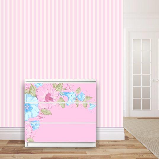 Möbelsticker für Malm-Kommode von IKEA - Motiv Hibiskus rosa