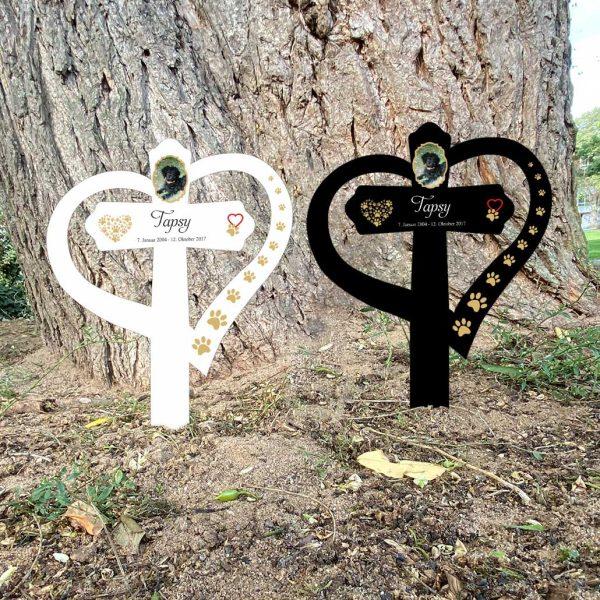 Grabkreuz mit Herz fürs Tier mit Foto und Pfotenherz