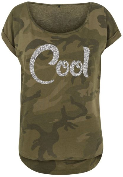 Damen Camouflage T-Shirt Glitzer Cool