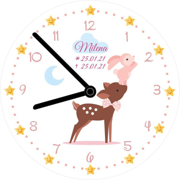 Wanduhr für Sternenkind mit Zahlen Reh und Hase in rosa