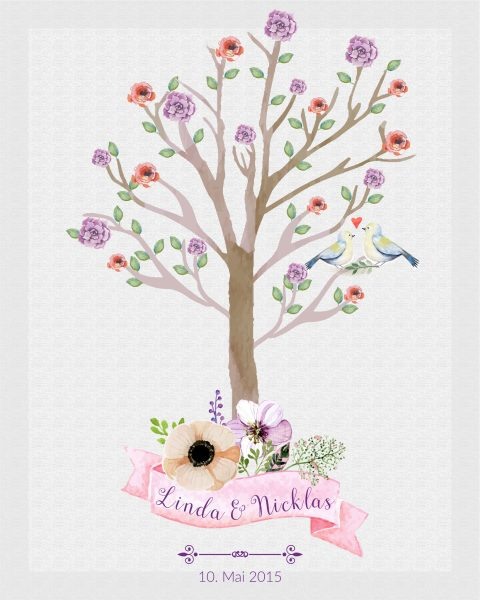 Hochzeitsleinwand Leinwand Fingerabdruckbaum Wedding Tree Gästebuch Watercolor Aquarell - Blüten