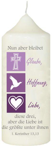 Kerze zur Konfirmation mit Namen und Datum (Motiv 8)