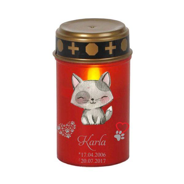 LED Grablicht Kerze Klein für Tiere Katze sitzend