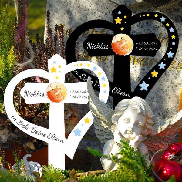 Grabkreuz mit Herz für Sternenkind Fuchs