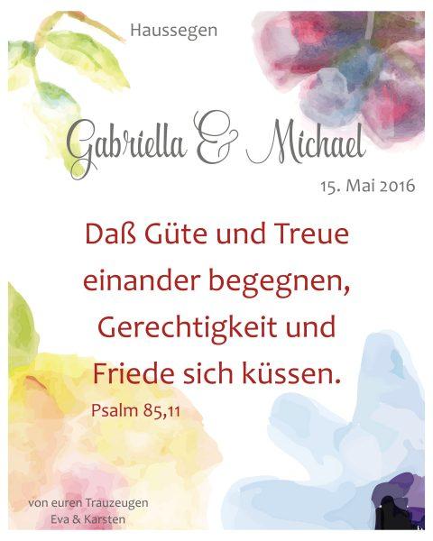 Haussegen zur Hochzeit Geschenk Leinwand 24 x 30 cm Motiv 6