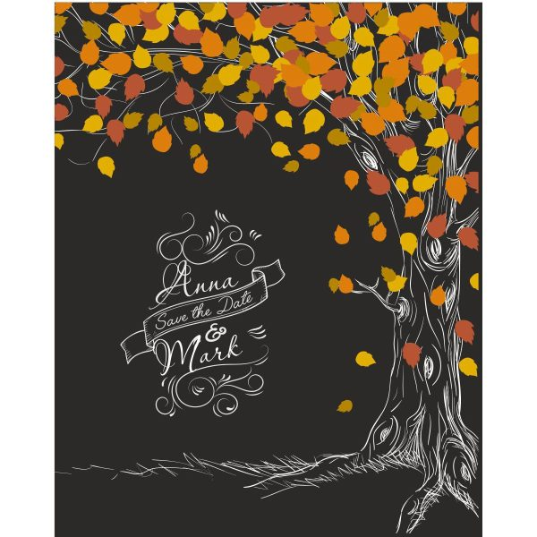 Hochzeitsleinwand Leinwand Fingerabdruckbaum Wedding Tree Gästebuch schwarz - Herbst