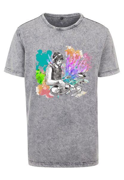 Herren Acid Washed T-Shirt DJ