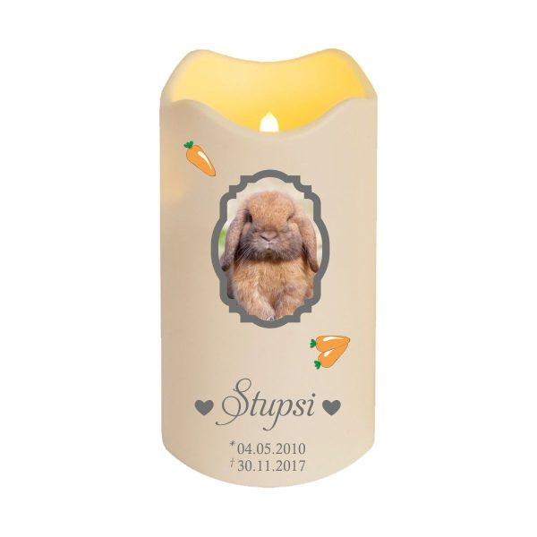 LED Kerze Trauerkerze aus Kunststoff für Tiere mit Foto im Rahmen und Karotten