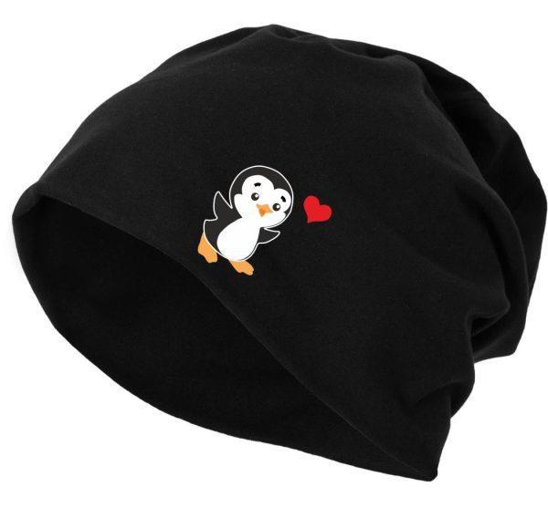 Jersey Beanie Mütze Wintermütze Pinguin