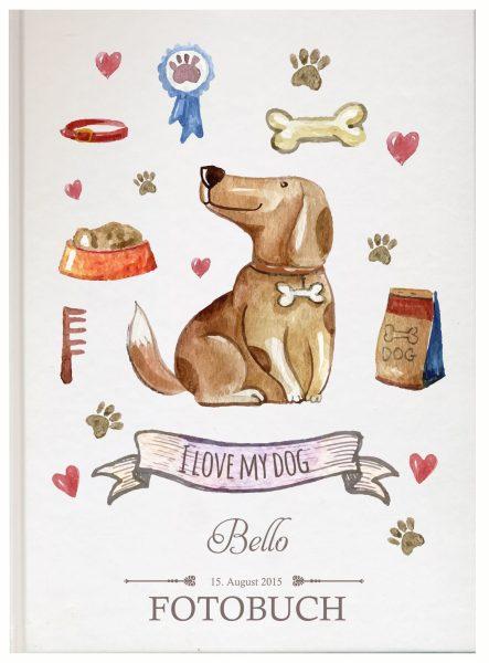 Fotoalbum für Tiere Hund sitzend mit Banner